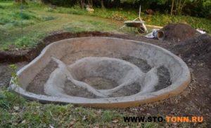 бетонирование пруда на даче